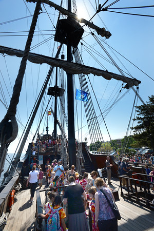 BRYAN EATON/Staff Photo. Local schools and some from as far away as Goffstown, N.H. filled the decks of El Galeon at Newburyport's waterfront.