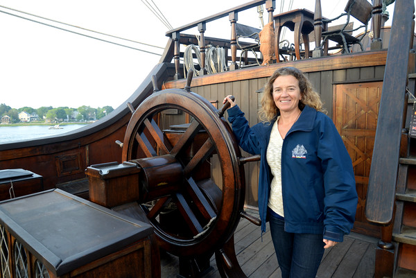 JIM VAIKNORAS/Staff photo El Galeon Captain Rosario Fernadez Rodriguez at the wheel.