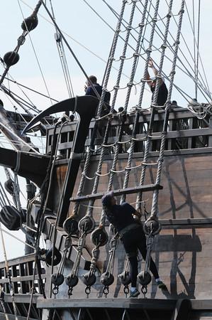 BRYAN EATON/Staff Photo. The El Galeon crew prepares to arrive at the Newburyport Waterfront.
