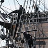 BRYAN EATON/Staff Photo. The El Galeon crew prepares to arrive at the Newburyport Waterfront.