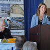 BRYAN EATON/Staff Photo. Massachusetts Lt. Governor Karyn Polito speaks at the Seacoast Expo Breakfast Forum at the Blue Ocean Event Center. Joe Bevilaqua, president of the Merrimack Valley Chamber of Commerce, which sponsored the event, at left, along with the Salisbury Chamber of Commerce.