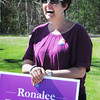 BRYAN EATON/Staff Photo. Ronalee Ray-Parrott greets voters at the Hilton Center.