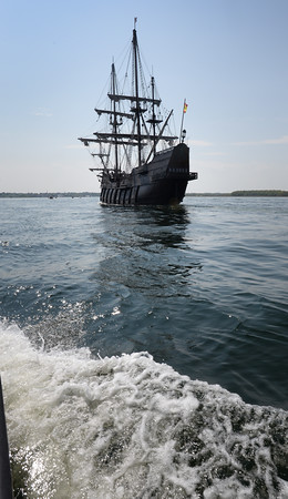 BRYAN EATON/Staff Photo. The El Galeon heads into the mouth of the Merrimack River.