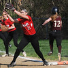 BRYAN EATON/Staff Photo. Amesbury's Zoe Fitzgerald has the catch forcing out Newburyport's Annie Siemasko.