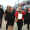Lt. Gov Karyn Polito visits site of Salisbury Beach boardwalk with Rep. Jim Kelcourse.