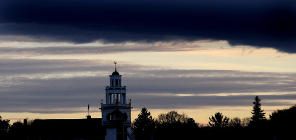 Newburyport: the Old South Church in Newburyport stands against a cold November sunset.Jim Vaiknoras/staff photo