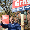 Amesbury: Mayoral candidate Ken Grey in mraket Sqaure in Amesbury. Jim Vaiknoras/staff photo