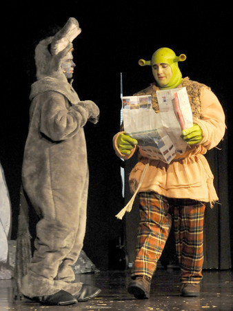 West Newbury: Ben Joyall as Donkey and Kevin Lundy as Shrek in the Pentucket high school production of Shrek the Musical. Jim VAiknoras/staff photo