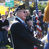 Amesbury: Veteran Authur Lawler speaks to the crowd at Amesbury Middle School during Monday Veteran's Day Ceremony. Jim Vaiknoras/staff photo