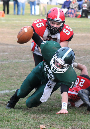 West Newbury: Pentucket's Ryan Kuchar dives for an extra yard against Watertown during their game at Pentucket Saturday. Jim Vaiknoras/staff photo