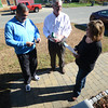 Newburyport: Newburyport mayoral candidate Sichard Sullivan talks with voters Marianne and Charlei Ciovacco Saturday. Jim Vaiknoras/staff photo