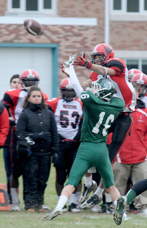 West Newbury: Pentucket's Liam Corkery brakes up a pass intended for Watertown's Matt Donnell during their game at Pentucket Saturday. Jim Vaiknoras/staff photo