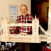Newburyport: Paul Tremblay of Newburyport hold a six foot long model of London Bridge he made made from 3500 match sticks. His only guide was a photo of the bridge. Jim vaiknoras/staff photo