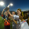 Worcester:Newburyport soccer captains, from left,Lilly Donovan Aly Leahy, Carly Brand and Jaycie Triandafilou with the championship trophy in the North Div 3 finals at Foley Stadium in Worcester,The Clipper's won the game 1-0, giving them the Division 3 State Championship. Jim Vaiknoras/staff photo