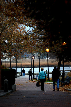 Newburyport: People enjoy a cloudy and mild Sunday afternoon with a stroll through Market Landing Park. Jim Vaiknoras/staff photo