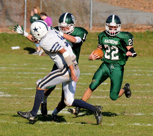 West Newbury: Pentucket's Jeff Portergets a nice block from teammate Liam Cockery against Hamilton -Wehman  during their game at Pentucket Saturday. Jim Vaiknoras/staff photo