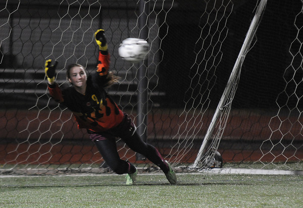 Lynn: Newburyport's  Lilly Donovan makes a save on a PK at the end of the Clippers victory over Lynnfield in the North Div 3 finals  at Manning Field in Lynn. Jim Vaiknoras/staff photo