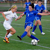 Worcester: Newburyport's Isabella Palma races Granby's Kate Desormier to the ball during their game at Foley Stadium in Worcester. The Clipper's won the game 1-0, giving them the Division 3 State Championship. Jim Vaiknoras/staff photo