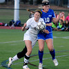 Worcester: Newburyport's Carly Brand collides with Granby's Tara Mikalchus during their game at Foley Stadium in Worcester,The Clipper's won teh game 1-0, giving them the Division 3 State Championship. Jim Vaiknoras/staff photo
