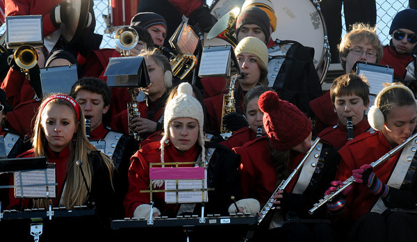 Newburyport:  the Amesbury high band performs at the annual Thangsgiving football game between Newburyport and Amesbury at World War Memorial Stadium in Newburyport Thursday. Jim Vaiknoras/staff photo