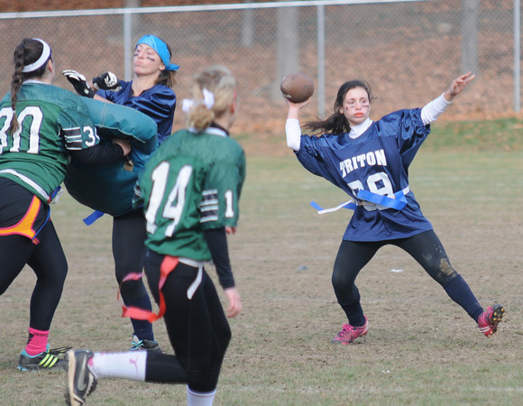West Newbury: Triton's Cara Orlandi looks down field for a reciever during the Powder Puff  game against Pentucket at Pentucket High Saturday. Jim Vaiknoras/staff photo