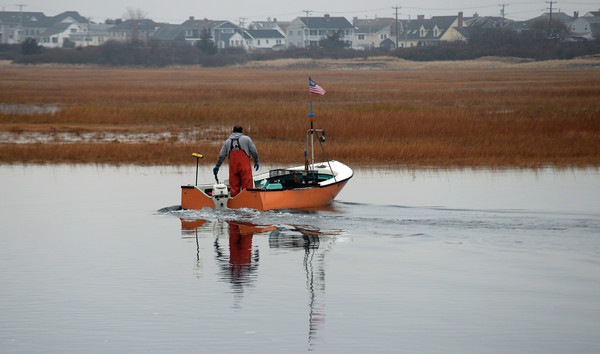Seabrook: Fisherman Dwight Howard checks his traps near Browns Lobster Pound in Seabrook Sunday morning. Jim Vaiknoras/staff photo