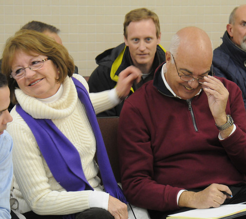 Amesbury: Mayoral candidate Ken Grey with his wife Donna reacts to his 8 vote victory over Thatcher Keezer. Jim Vaiknoras/staff photo