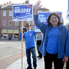 Newburyport: Newburyport mayor Donna Holaday waves to supporters in Market Square Saturday. Jim Vaiknoras/staff photo