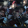 Newburyport: The Newburyport high band bundled upas they perform at the annual Thangsgiving football game between Newburyport and Amesbury at World War Memorial Stadium in Newburyport Thursday. Jim Vaiknoras/staff photo