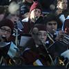Newburyport: The Newburyport high band bundled upas they perform at the annual Thangsgiving football game between Newburyport and Amesbury at World War Memorial Stadium in Newburyport Thursday. Jim Vaiknoras/staff photo