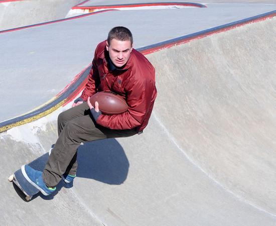 Newburyport: Trevor Bradbury of the Newburyport football at the skateboard park in Newburyport. Jim Vaiknoras/staff photo