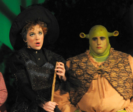 West Newbury: Natalie Scott as the Wicked Witch and Kevin Lundy as Shrek in the Pentucket high school production of Shrek the Musical. Jim VAiknoras/staff photo