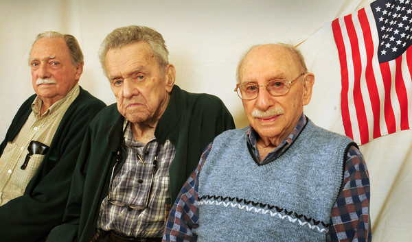 Newburyport: Local veterans of World War II, from left, Blake Hughes, Gene Smith and Al Moscowitz participated in the Battle of the Bulge. Bryan Eaton/Staff Photo