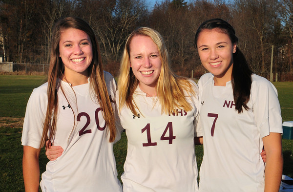 Newburyport High soccer players Delaney Bartol, Amy Sullivan and Erin Filetti. Bryan Eaton/Staff Photo