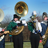 Byfield: Triton and Pentucket band members joined to play the National Anthem on a frigid and windy field during the Thanksgiving Day game. Bryan Eaton/Staff Photo