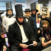 Amesbury: Sixth-graders at Amesbury Middle School commemorated the 150th anniversary of President Lincoln's Gettysburg Address with many students dressing up as at the 16th president. Vice-principal Steven O'Connor also donned a beard and stovepipe hat and read the address to each class. Bryan Eaton/Staff Photo