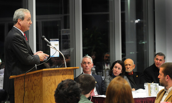 Amesbury: Guest speaker Watertown police Chief Edward Deveau describes the shootout with the suspects of the Boston Marathon bombings in his town at the Amesbury Chamber of Commerce and Industrial Foundation annual dinner last night. Bryan Eaton/Staff Photo