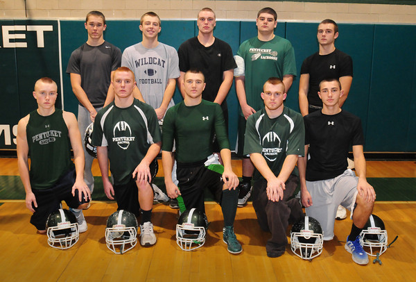 West Newbury: Pentucket High School football seniors, front, from left, Eric Hardway, Chad Legault, Ryan Kuchar, Chris Croteau and Nick Zaia. Back, from left, Liam Corkery, Sean Clohisy, Shane Ketola, Reid Garrant and D. J. Engelke. Missing is Nick . Bryan Eaton/Staff Photo