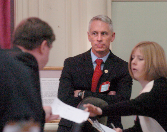 Amesbury: Mayor Thatcher Kezer looks on as results of the election are recounted. Bryan Eaton/Staff Photo