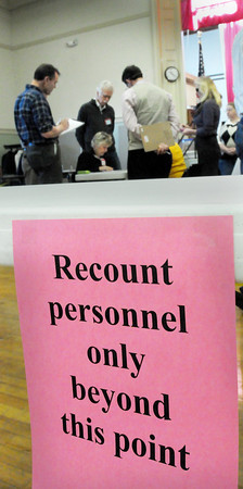 Amesbury: Yesterday's election recount of the mayoral race in Amesbury brought out many observers. Challenger Ken Gray kept his two point lead over inbumbent Thatcher Kezer. Bryan Eaton/Staff Photo