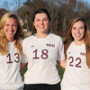Newburyport High soccer players Abigale Muise, Liza Twomey and Katherine Bamberger. Bryan Eaton/Staff Photo