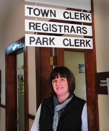 "Salisbury: Melinda ""Mindy"" Morrison is Salisbury's new town clerk taking over for Wilma McDonald, who retired this month. Bryan Eaton/Staff Photo"