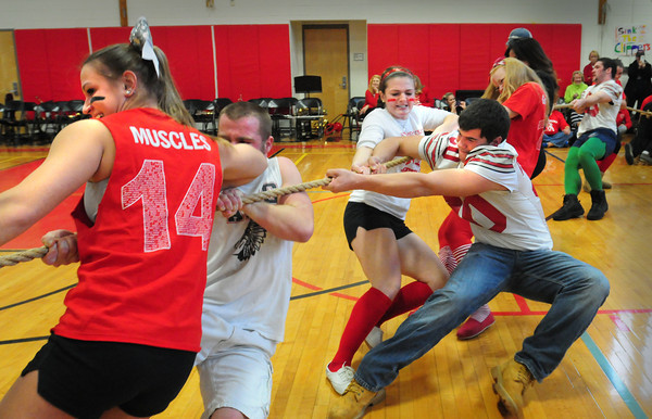 Amesbury: Amesbury High School seniors, pictured, won the tug-of-war at the Pep Rally on Wednesday morning. The different classes participate in  competitions to get enthused about the Thanksgiving Day football game with rival Newburyport High. Bryan Eaton/Staff Photo