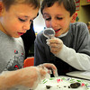 Amesbury: Amesbury Elementary School second-graders Sam Guimaraes, left, and Nicolas Bazirgan, both 7, check for bones of mices, moles or small bird in owl pellets which the birds regurgitate that which can't be digested using a chart to identify such. The students in Julia McCarthy's class were doing a follow up on a science unit on owls. Bryan Eaton/Staff Photo