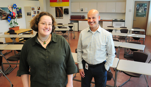 Newburyport: Newburyport High School teachers, Sarah Leadbeater and Spencer Wolf were honored recently as Teachers of the Year. Sarah as Masstech teacher of the Year and Spencer as Massachusetts German Educator of the Year at the recent MassTEC conference. Bryan Eaton/Staff Photo