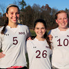 Newburyport High soccer players Georgia Kacher, Celia Vincent and Polly Corbert. Bryan Eaton/Staff Photo