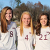 Newburyport High soccer players Julia Kipp, Abbie Bresnahan and Maryam Moshrefi. Bryan Eaton/Staff Photo