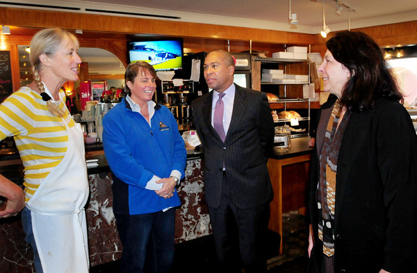 Newburyport: Governor Deval Patrick toured downtown Newburyport with Newburyport Mayor Donna Holaday, right, here meeting with 17 State Street Cafe owner Cathy Moulton, left, and manager Heather Paterson. Bryan Eaton/Staff Photo