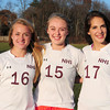 Newburyport High soccer players Isablella Palma, Lauren Bean and Amelia Kroschwitz. Bryan Eaton/Staff Photo