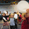 "Newbury: Kindergartners in Nancy Mackinney's class at Newbury Elementary School dance with paper plates to the song ""Math Is So Much Fun."" The music and dance movement helps to get them alert as they ready to learn more math on Thursday afternoon. Bryan Eaton/Staff Photo"